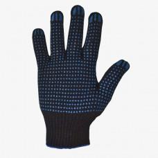 Перчатки ХБ с ПВХ 5 нити 10 класс точка белые, черные