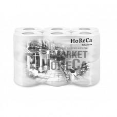 Туалетная бумага Plushe HoReCa 12рул/пач*15м, белая с ручкой, 2-сл., 8пач/уп