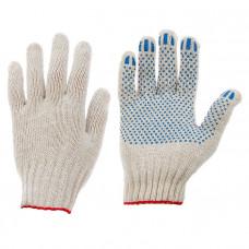 Перчатки ХБ с ПВХ 5 нити 10 класс точка белые (250пар)